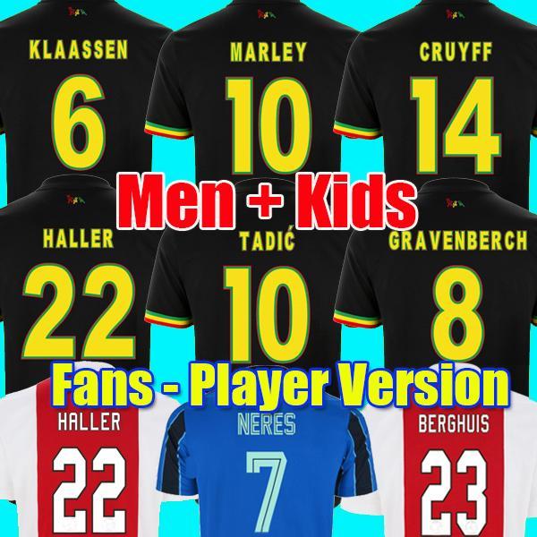 21 22 Maillot de football TADIC BERGHUIS GRAVENBERCH Amsterdam KUDUS BLIND PROMES HALLER NERES CRUYFF KLAASSEN 2021 2022 AJAX Bob Marley enfants maillot de football