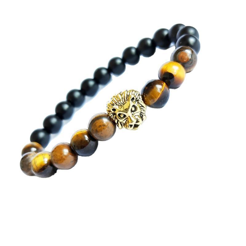 Braccialetto naturale della tigre alla moda, lava smerigliata, roccia vulcanica, testa del leone, braccialetto per perline del Buddha e ornamenti all'ingrosso perline, fili