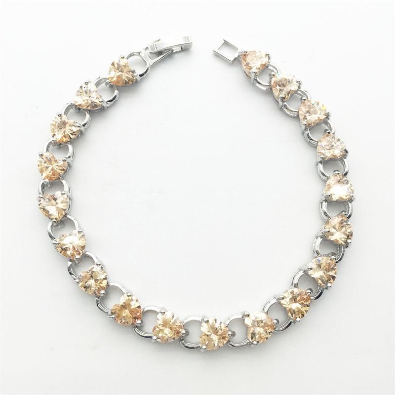 Champange Kristal Kalp Bilezik Moda Kadınlar Marka Kaplama Beyaz Altın Takı Link, Zincir
