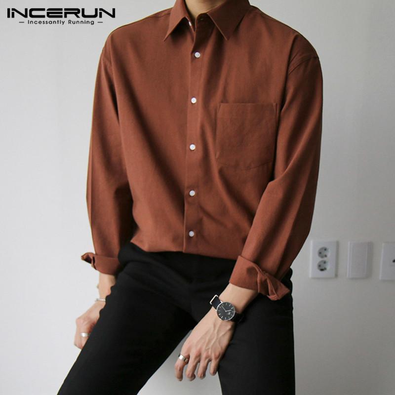 봄 남자 느슨한 주머니 camisa masculina incun 남자 셔츠 솔리드 컬러 다운 칼라 블라우스 패션 버튼 드레스 5XL 남자 캐주얼