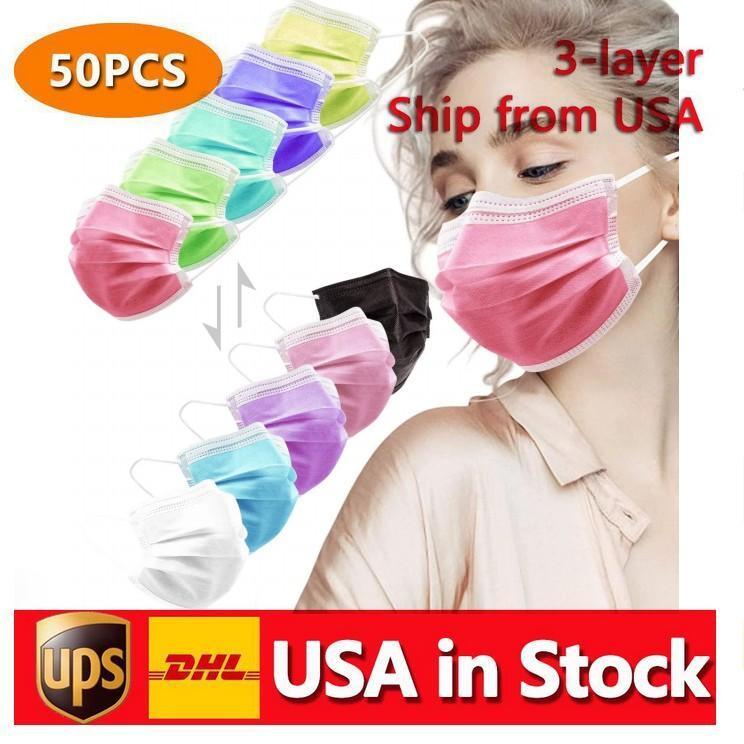 Mascarillas de cara multicolor desechables de entrega rápida Mascarilla suave de la caja de la piel para las mujeres y los hombres 3 Capa ajustable para adultos CT13