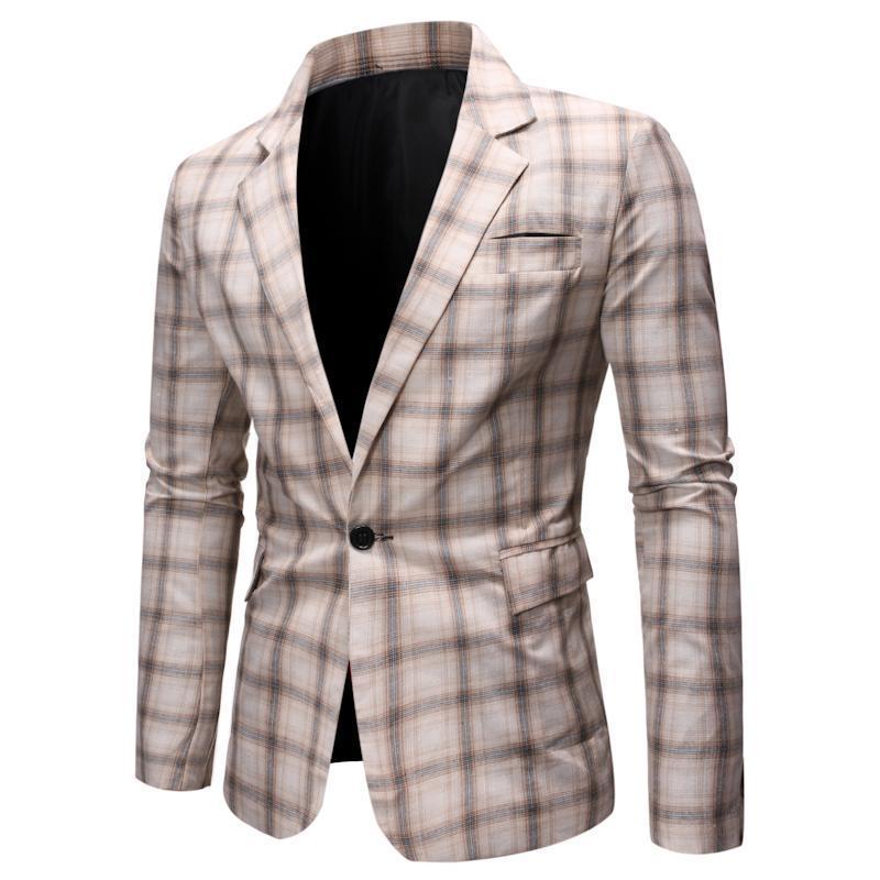 Men's Suits & Blazers Wedding For Men Casual Plaid Man Blazer Slim Fit Leisure Clothes Jacket