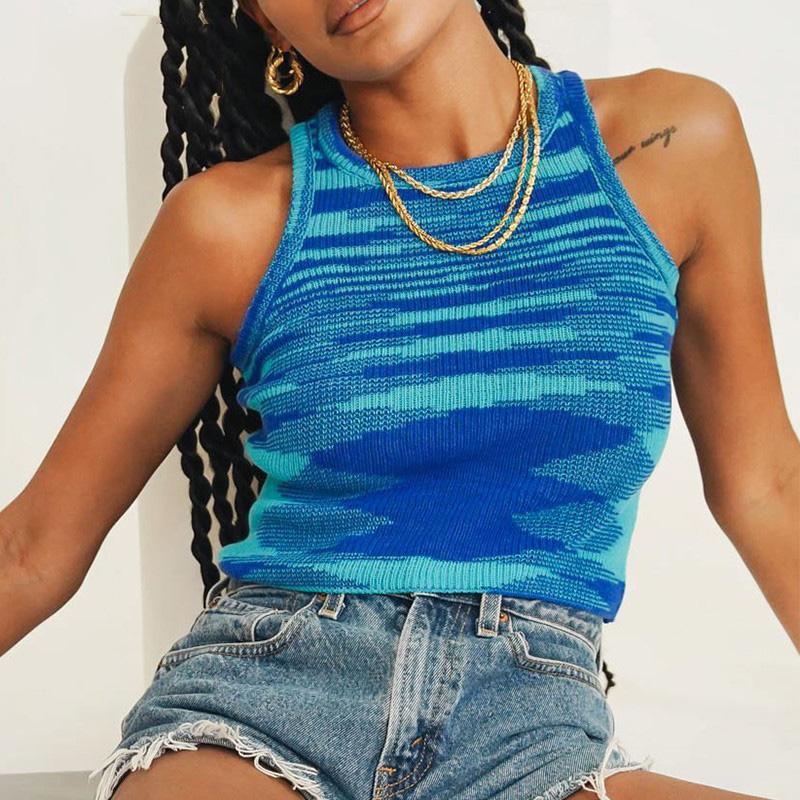 Frauen Rippen Tank Tops Pullover Weste Basic Kurze Rundhalsausschnitt Strick Sleeveless Crop Top Pullover Pullover Sommer Herbst Camisole für Frau