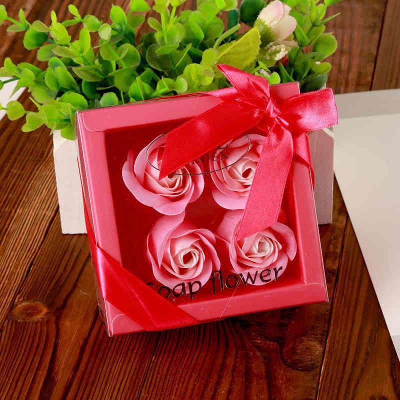 Sapone fiore creativo scatola di alta qualità confezionata rose artificiali romantiche regalo di San Valentino regalo compleanno fiori di nozze LLA220 WBVS