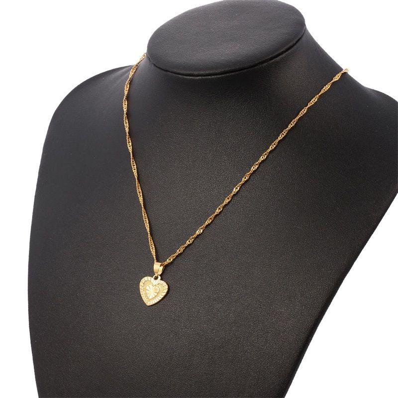 Jóias de pingente de coração conjuntos colares clássicos brincos conjunto 14 k fino ouro enchido bronze casamento noiva mulheres dote das mulheres gif 48 u2