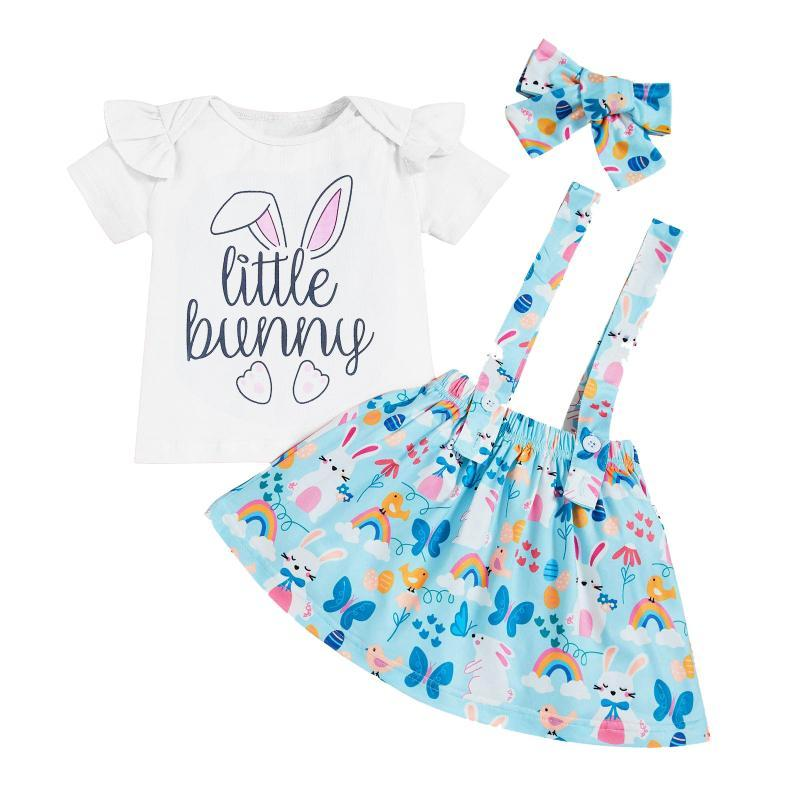 Clothing Sets Toddler Kids Girl Set Summer 3pcs Suits Ruffle Cartoon Ear Tops Suspender Skirt Outfits Children 6M-4Y