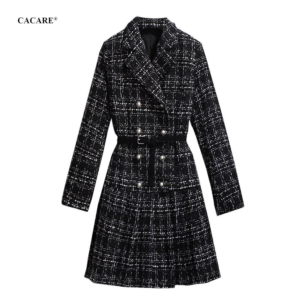 Elegante Koreaanse lange wollen jas vrouwen herfst winter met bontkraag geplooide lederen taille wol jassen dame overjas f0225