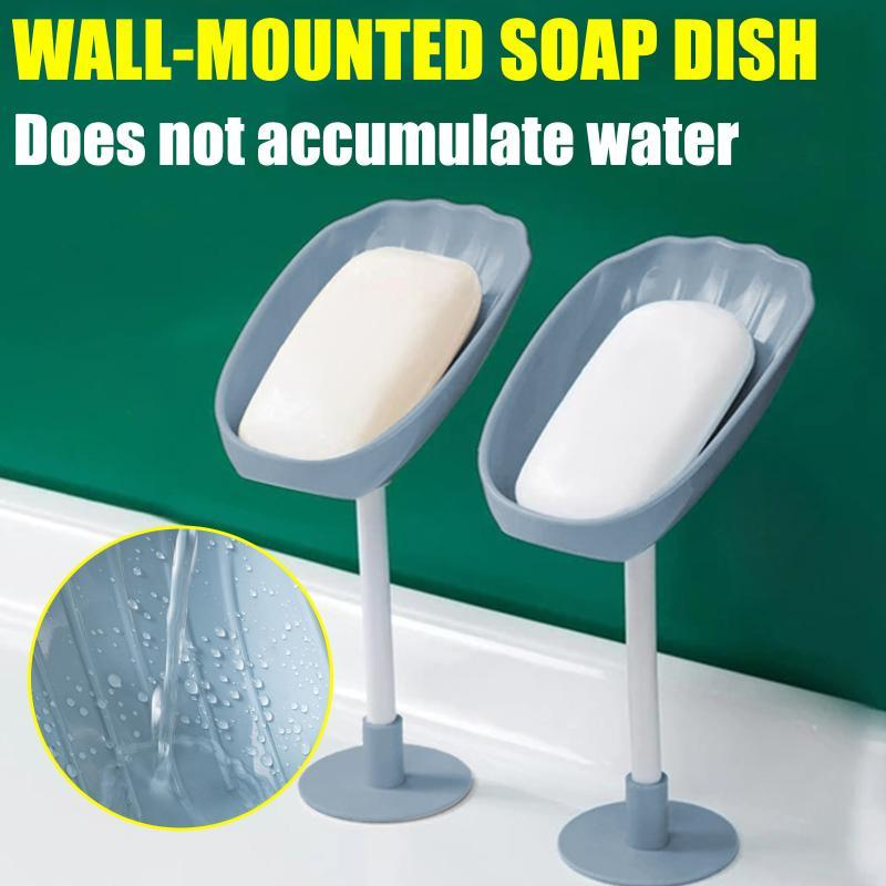 Soap Dishes Rotatable Dish Box Wall-Mounted Holder Drain Rack Plastic Free Standing Suction Cup Bathroom Accessories