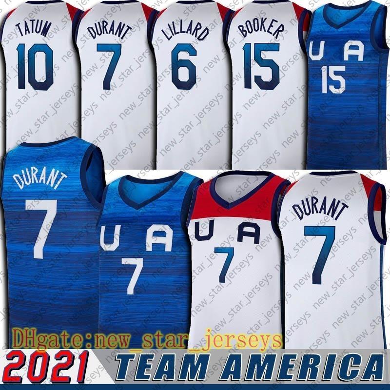 Equipe EUA Devin 15 Booker Jerseys Tokyo Olympics Jersey Kevin 7 Durant Damian 6 Lillard Jersey Jayson 10 Tatum