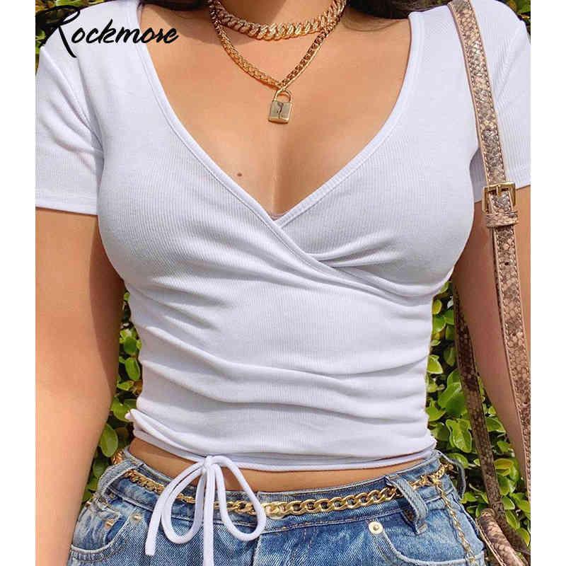 Rockmore ribbed profundo decote em v sexy sexy tshirts mulheres colheita sólida topo de manga curta verão cruzada cruzada Cruz Cruz Central Casual 210323