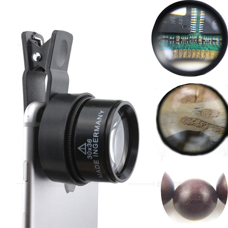 30x CS30X36MM Microscopio de teléfono celular Clip Optical Glass Jewelry Identificación de diamantes antiguos All-Metal HD Mirror de aumento 30x36 Teléfono móvil