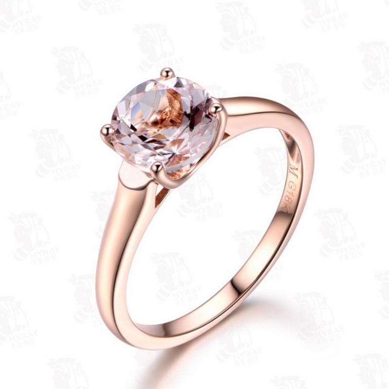 Ehering Ringe Luxus Rose Gold Runder Morganite Ring Für Frauen Einstellbare Koreanische Modeschmuck Zubehör Romantisches Valentinstag Geschenk
