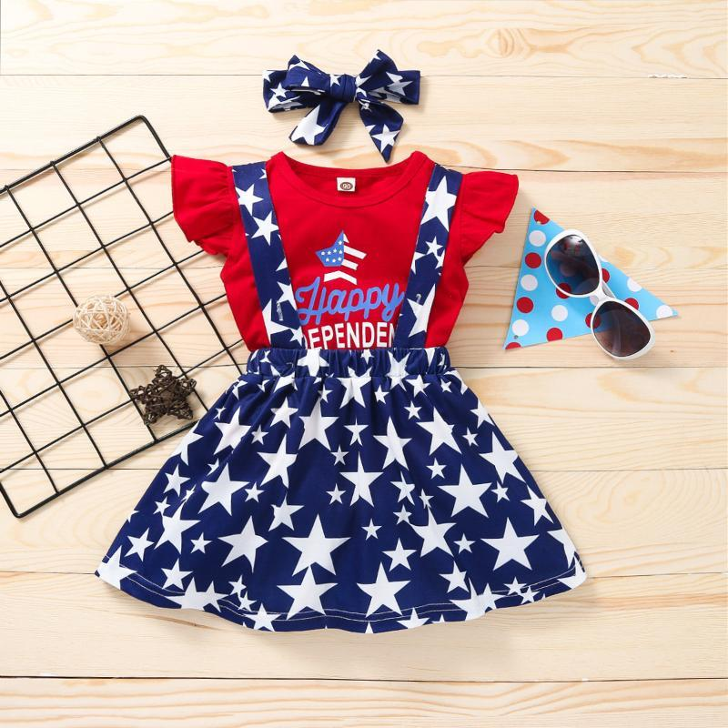 Clothing Sets Toddler Kid Girl Kids Girls Clothes Summer Independence Day Tops Strap Skirt Headband Set Ropa De Niña 2021