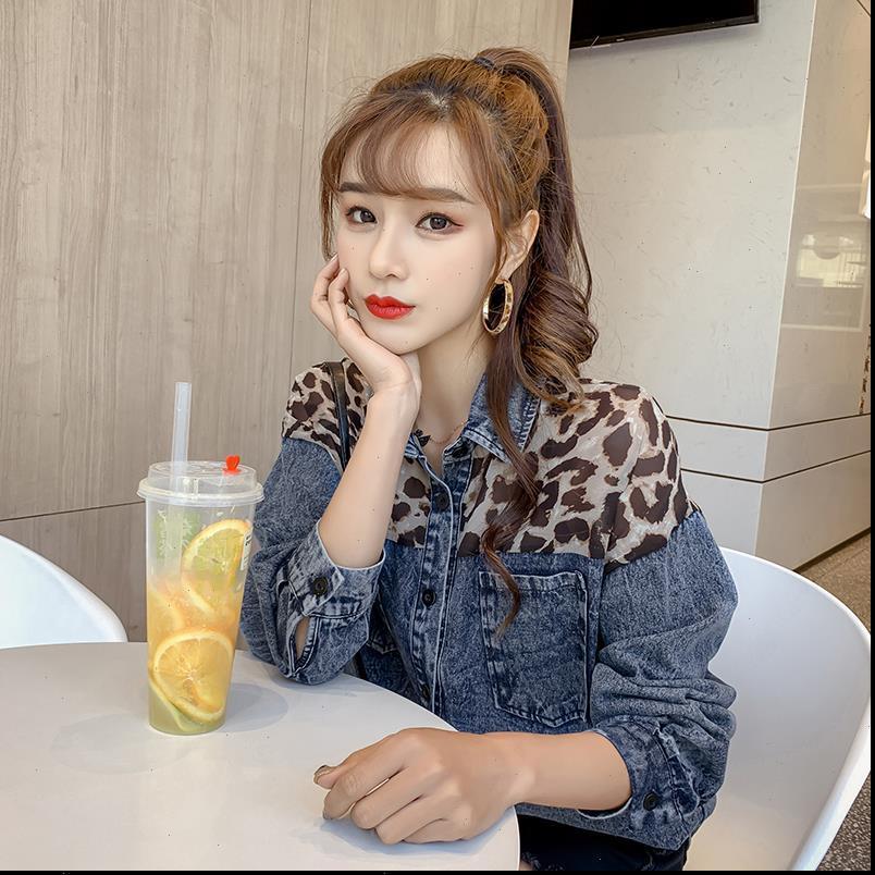Denim Tasarım Bahar Ve Kadın Gömlek Sonbahar Kore Versiyonu Dikiş Leopar Şifon Gevşek Rahat Ceket Kaban
