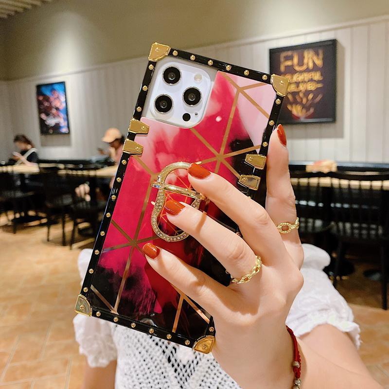 Banhado Diamante Aquarela de Luxo Designer Casos Telefone para iPhone 12 11 Pro Promax X XS XSMAX 7 8 Plus Samsung Note20 S21 A52 A72