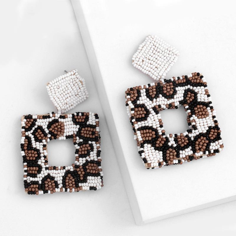디자이너 인기있는 쥬얼리 레오파드 곡물 쌀 구슬 기하학적 사각형 귀걸이 ERQ16