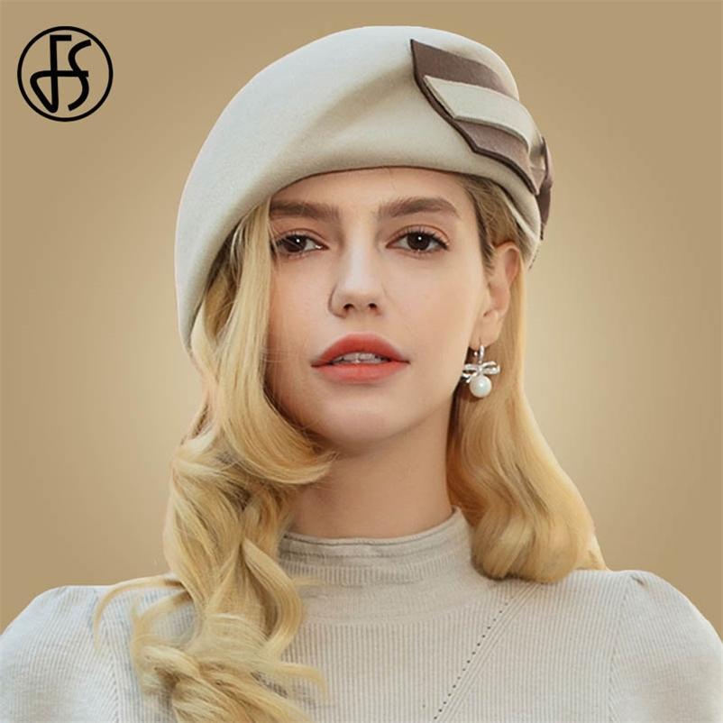FS Vintage Yün Fransız Bere Şapkalar Kadınlar Fedora Siyah Keçe Kış Büyük Yay Zarif Bayanlar Kilisesi Şapka Düğün Berret Femme 210429