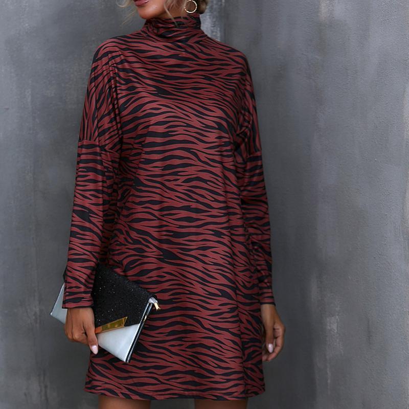 Осенью и зимнее элегантное женское платье для вечеринки O-шеи Maxi мода с длинным рукавом печать топы женские повседневные платья