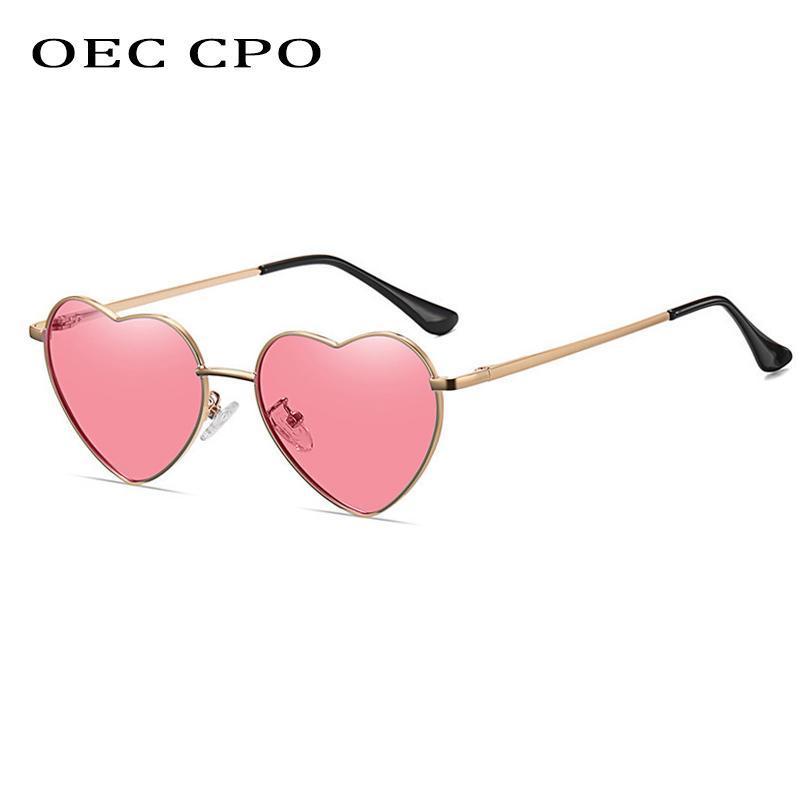 CPO Мода Сервированные Солнцезащитные очки Женщины Винтаж Панк Металл Розовый объектив Женские Очки Феминино