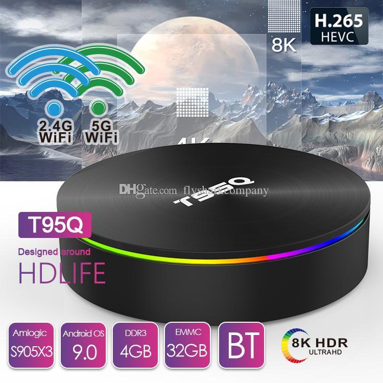 T95Q Android 9.0 TV BOX 4GB+32GB/64GB Amlogic S905X3 Quad Core Dual 2.4G&5GHz Wifi BT PK X96 Air H96 MAX