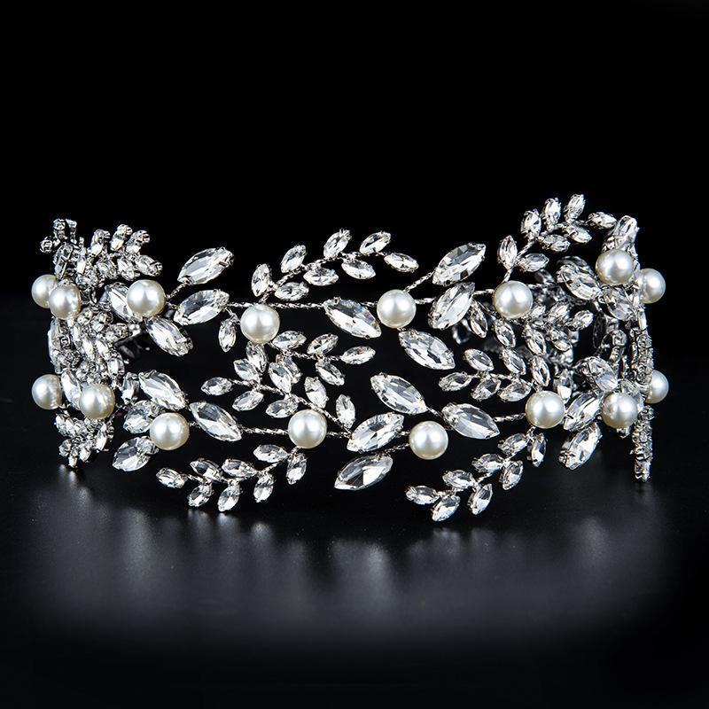 Tiara de la corona nupcial de la corona nupcial europea con la decoración de las perlas artificiales de la decoración de las mujeres de cristal completo para el banquete de bodas clips de pelo Barre