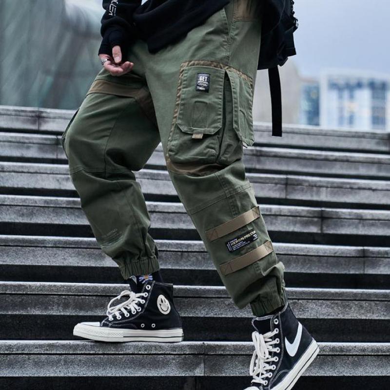 Techwear Streetwear 힙합화물 바지 남성 리본 블랙 루즈 군사 대형 스포츠 하라주쿠 캐주얼 멀티 포켓 바지 남자
