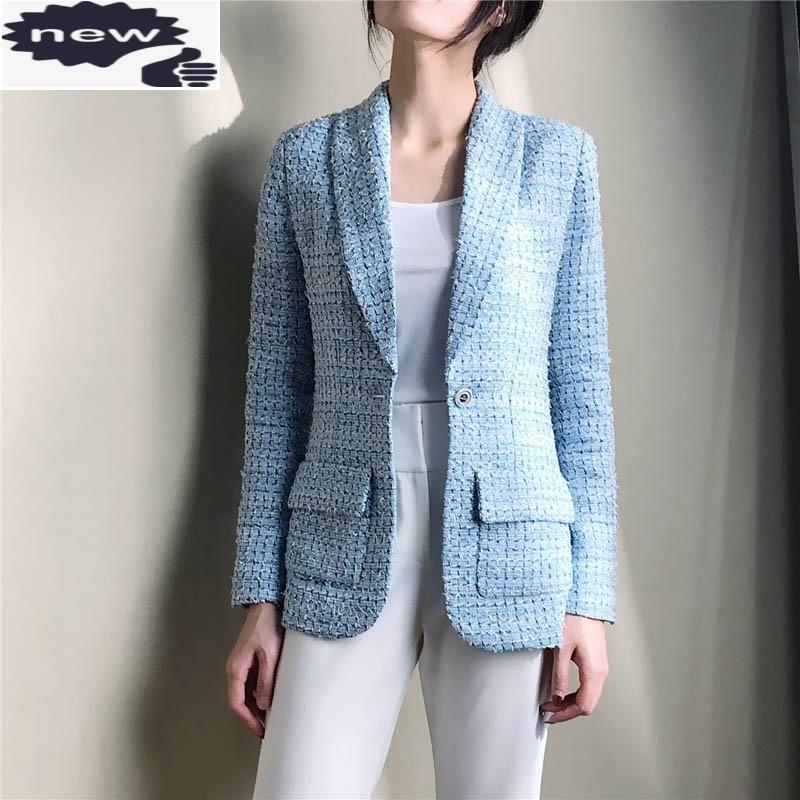 Spring Femmes Blaze Tweed Blue Plaid Plaid Slim Mince Femme Professionnelle Manteau Manteau de soie haut de gamme Doublure de soie haut de gamme Blazers Jacket Cuve des femmes