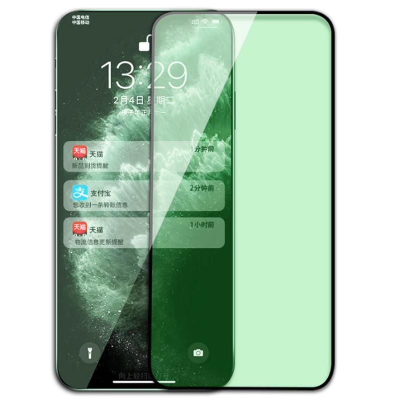 Verde Light Protect Eyes Protector de pantalla de vidrio templado Tapa completa Película Premio Premium CUBIERTE COBERTURA SHIELD PARA IPHONE 13 PRO MAX 12 MINI 11 XS XR X 8 7 6 6S PLUS SE
