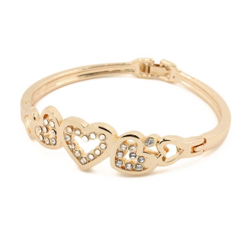 1 قطع الأزياء على شكل قلب سوار، لون الذهب الأنيق الإناث التبعي مجوهرات للنساء حزب عيد ميلاد الصيف الإسورة