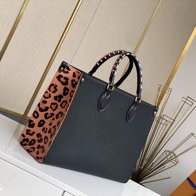 Femmes Luxurys Designers Sacs Fashion Black Leopard Onthego Grand Capacité Sac à bandoulière sac à dos M45595 Taille: 35-28-15cm