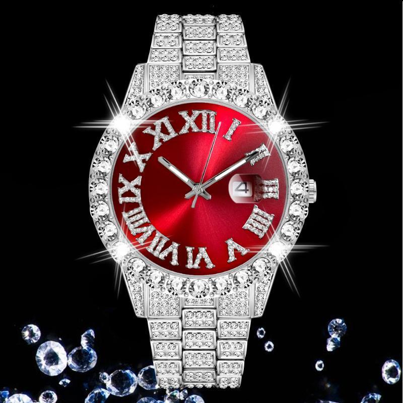 Diamantes Completos Moda Quartzo Relógio Homens Gelado Luxo Clássico Designer de Prata Aço Inoxidável Mens Relógios Hip Hop Reloj Hombre