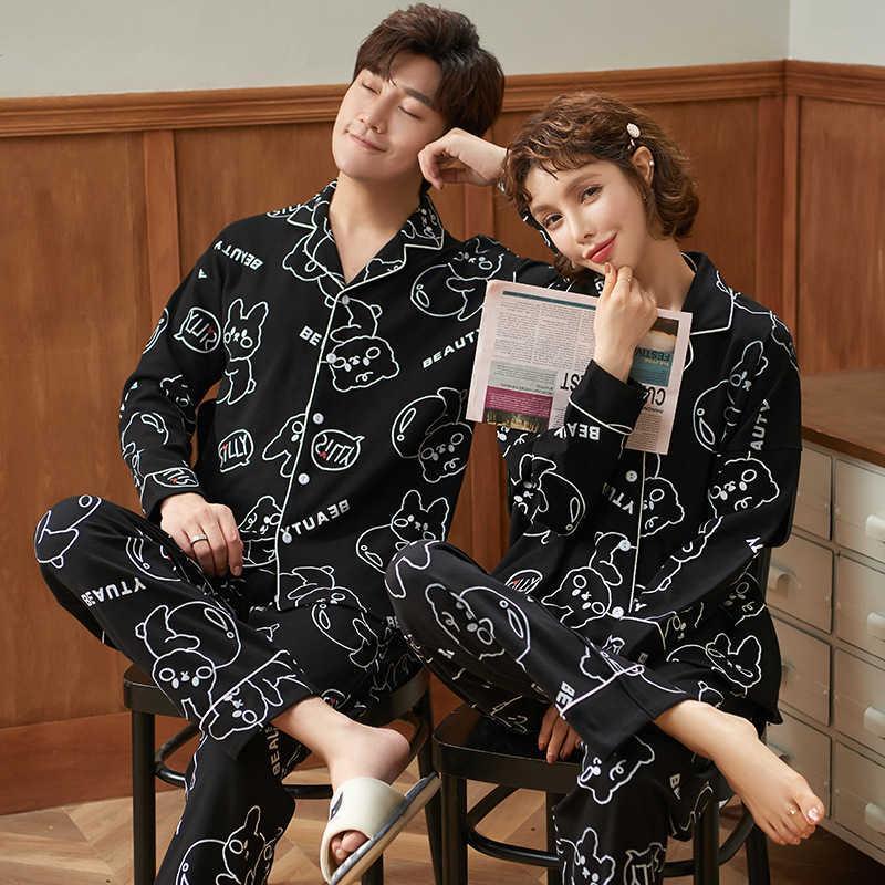 Pareja pijama hembra primavera otoño algodón coreano dulce pantalones de manga larga de manga larga de dos piezas de ropa de hogar