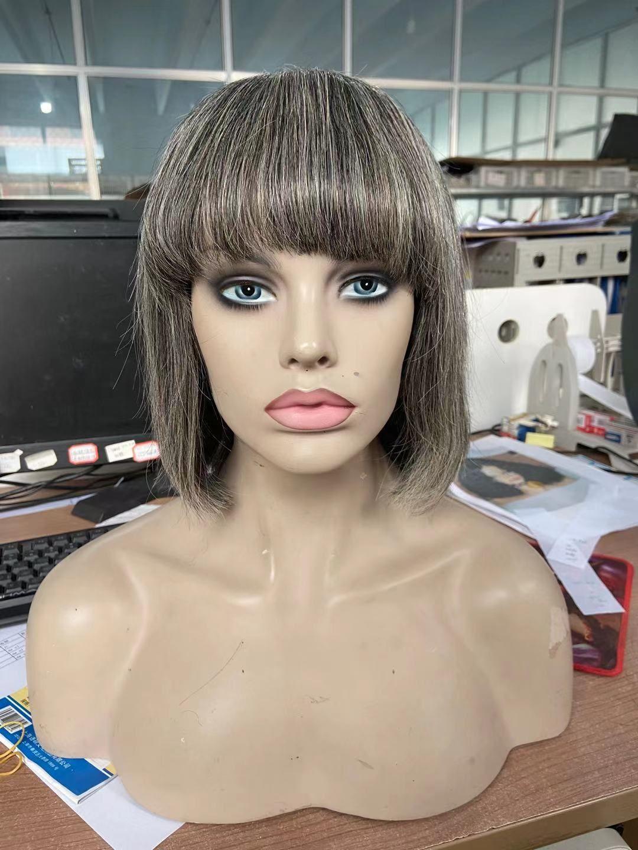 100٪ شعر حقيقي رمادي الإنسان بوب الباروكة الملح والفلفل الطبيعي يبرز الفضة رمادي قصير المرأة كاملة المرأة ارتداء 150٪ الكثافة diva1