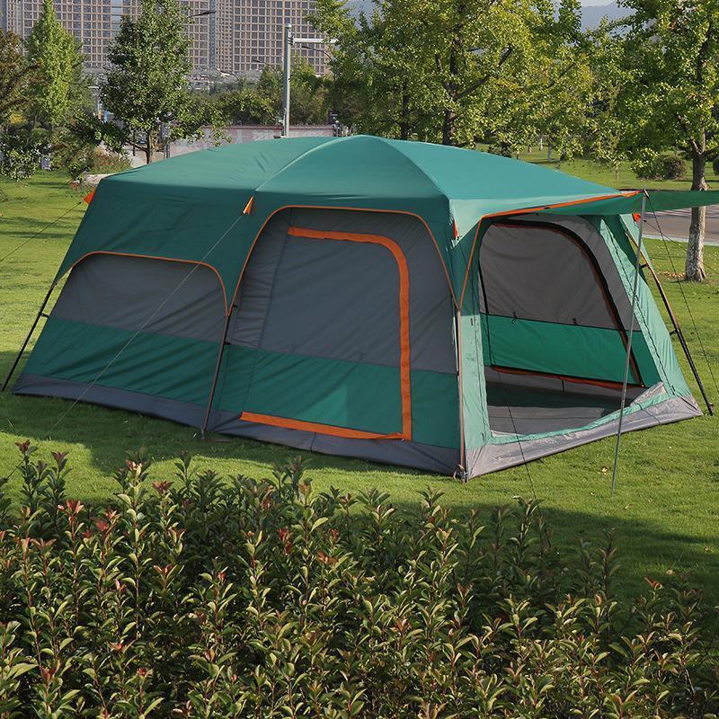 Tenda de acampamento ao ar livre grande tamanho 8-12 pessoas 2 quartos 1 célula viva família impermeável multifuncional camada dupla camadas e abrigos
