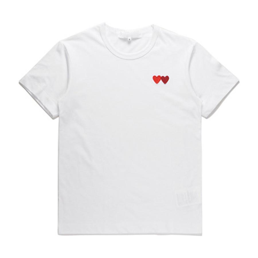 클래식 플레이 Unisex T 셔츠 # P022 여름 반팔 패션 티셔츠 하라주쿠 고급스러운 스타일리스트 심장 패턴 남성 여성 디자이너 CDG 캐주얼 힙합 탑스