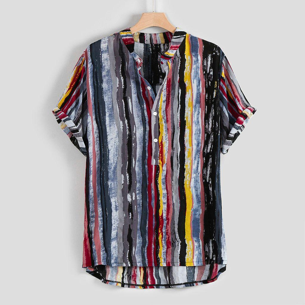 2021 Soporte de hombre Collar de algodón de algodón impreso camisa de manga corta superior