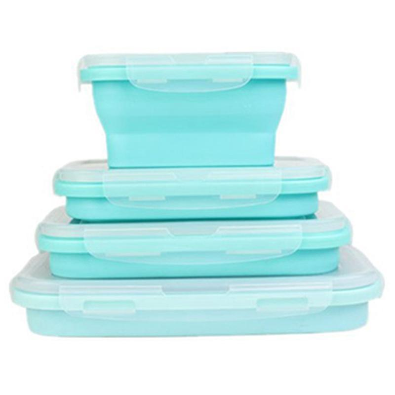 Storage Boxes & Bins 4 Piece Set Blue Grade Silicone Lunch Box Folding Eco-Friendly Container Bento Collapsible Portable Microwave Fo