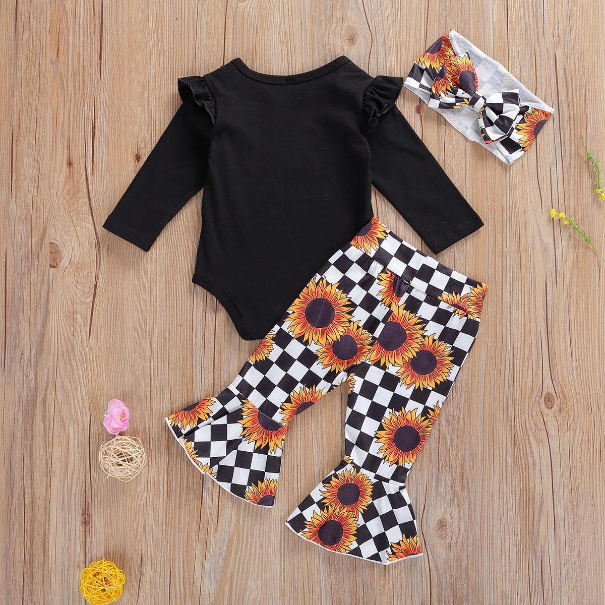 Baby Girls Clothes Set Newborn Infant 0-4Y Fashion 3PCS Print Top Romper+Flare Pants+Headband Bebes Set Vetement Bebe Robe Bebe