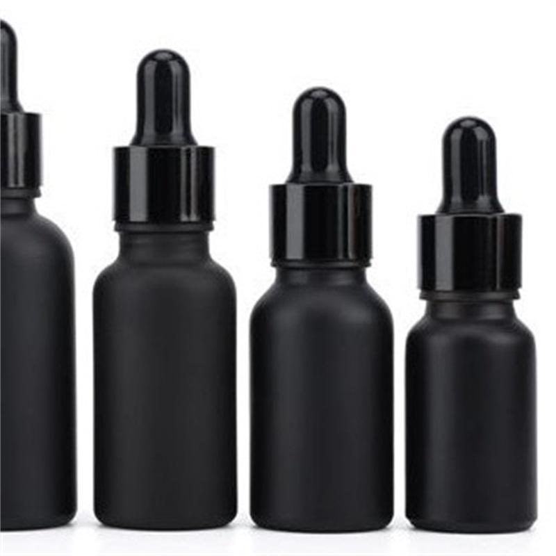 5ml, 10ml, 15 ml, 20ml, 30ml, 50ml, 100ml bottiglia di vetro smerigliato nero con contagocce, fialaio essenziale vuoto fiale nero colletto in alluminio, gomma 432 r2