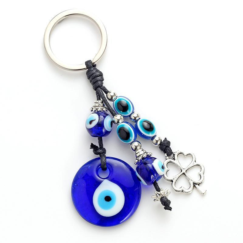 Schlüsselanhänger Augenmode Legierung Kleeform Charm Auto Keychain Schmuck Anhänger mit Bule Perle