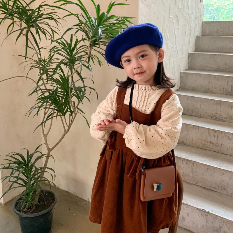Mode Kinder Kleid Costomes Langarm Corduroy Hosentürung Polka Dot Hemd Vestidos Design Casual Kleider für Mädchen Mädchen