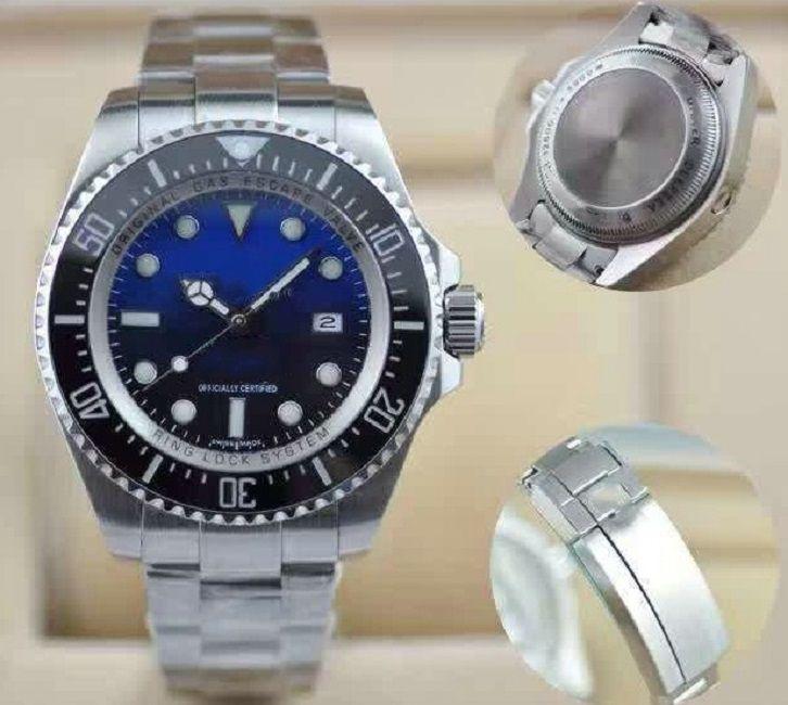Lüks Deniz-Dweller D-Mavi Saatler Seramik Çerçeve Safir Erkekler 44mm Tasarımcı Erkek İzle Moda Otomatik Hareket Mekanik Glide Kilit Toka Wrsiwatches