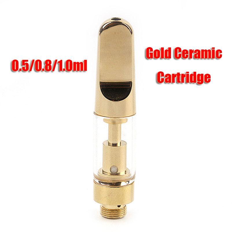 Full Gold Vape Cartridges Atomizer 0.5/0.8/1.0ml Ceramic Coil TH205 Thick Oil Glass Tank Empty Vaporizer Carts For 510 Thread Battery Pen