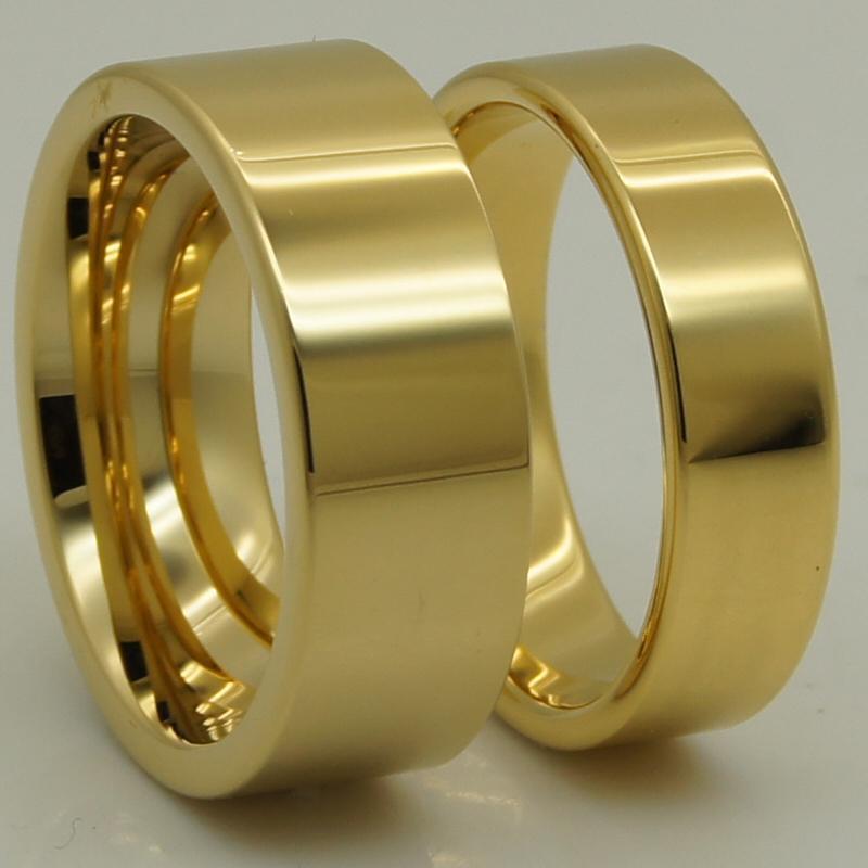 Eheringe 8mm Breite Männer / Frauen Für immer Klassische Einfache Pfeife Cut Paar Champagner Vergoldung Wolfram Ring 1pc