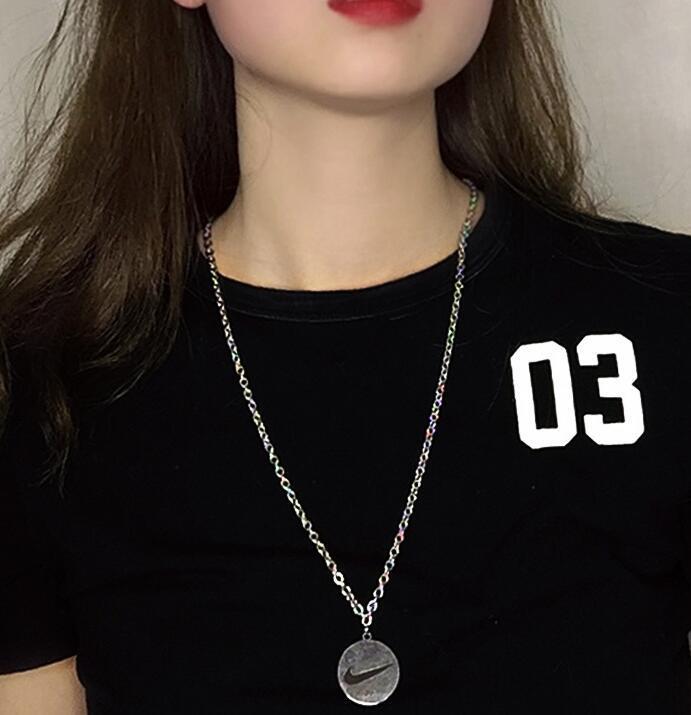 Collar colgante de cadena larga de múltiples capas para mujeres METOS Metal Cadenas de plata Hip Hop PS0211