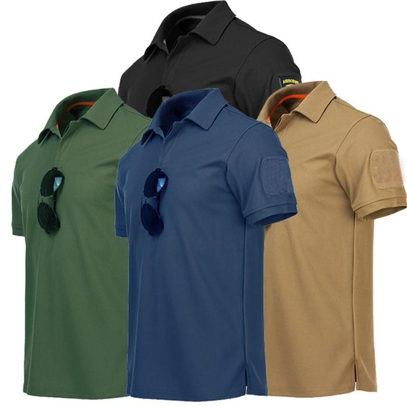 Erkek Askeri Açık Taktik T-Shirt Hızlı Kuru Yaz T Gömlek Kısa Kollu Yaka Gömlek Ordu Eğitim Tops Tee Erkek Giyim 210629