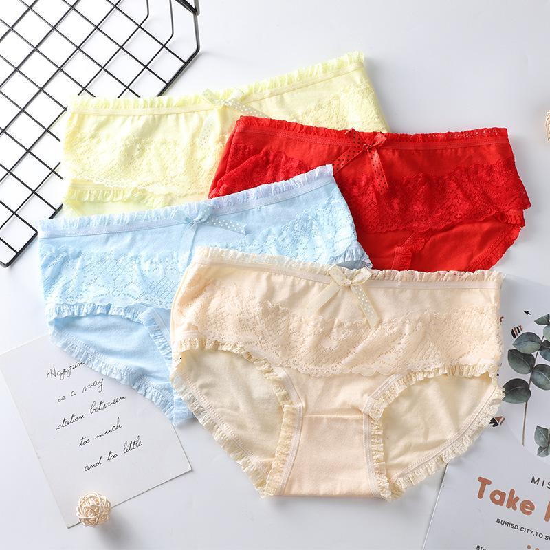 Ropa interior de la niña de algodón bragas, calzoncillos de mujer transpirable de cintura media, pantalones de fondo cómodos