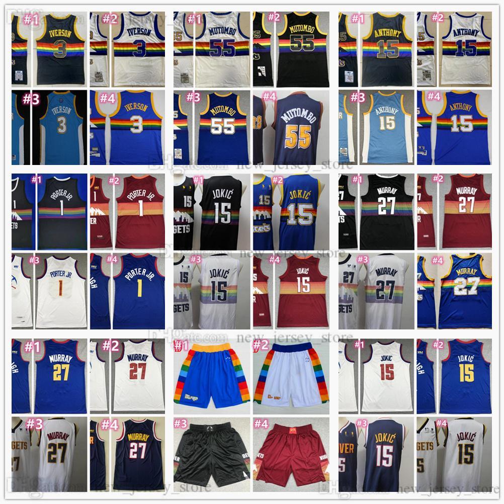 Baloncesto 1 Porter Jr. Jerseys cosido 15 Nikola 27 Jamal Jokic Murray Black Black Road City Blue Jersey Shorts