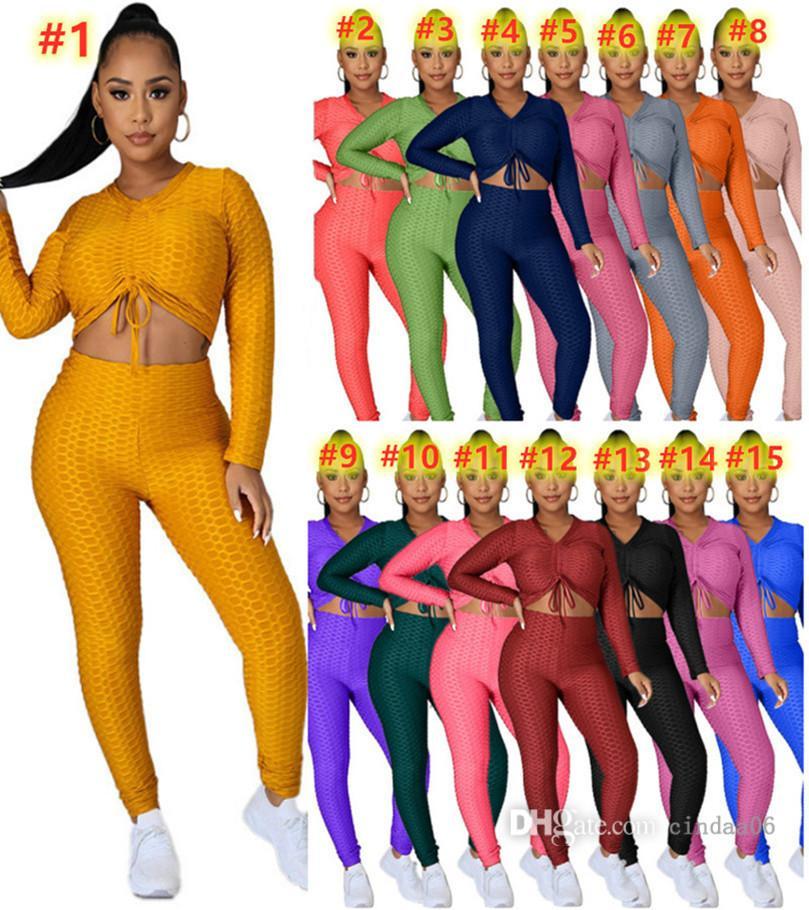 Artı Boyutu Kadın Yoga Eşofman S-4XL 2 Parça Set Hoodies + Pantolon Katı Renk Spor Takım Elbise Uzun Kollu Kıyafetler Güz Kış Giyim Güz