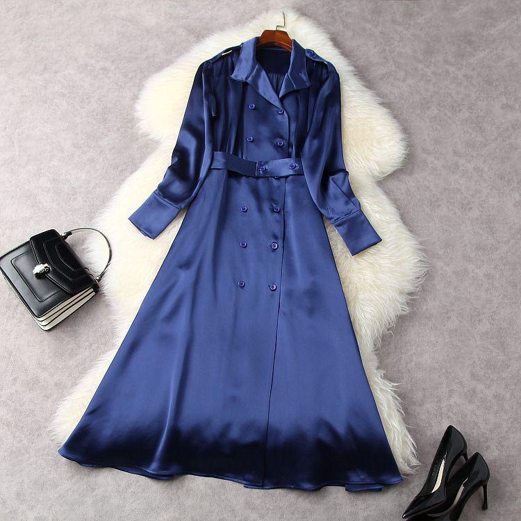 유럽 및 미국 여성 의류 봄 2021 새로운 긴 소매 옷깃 더블 브레스트 블루 패션 드레스